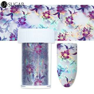 1 Roll Purple Flower Holographic Starry Nail Foil 4*120cm Holo Nail Art Transfer Sticker for Nail Art Decoration