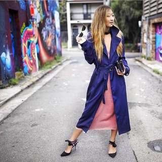 Miss Guided Navy Waterfall Trench Coat