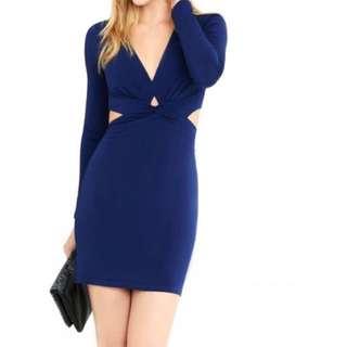 Plunging V royal blue dress