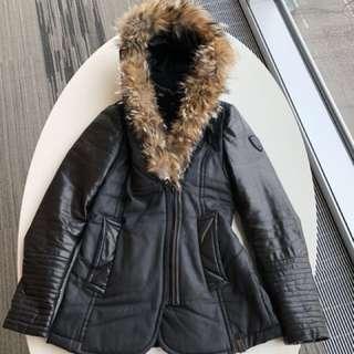 Rudsak coat leather arms, wolf fur