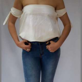 White off the shoulder tie top