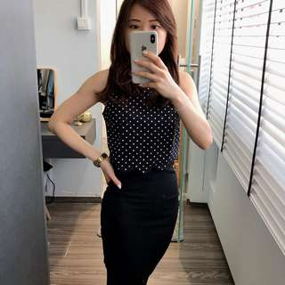 Polka cropped top with scallop edges