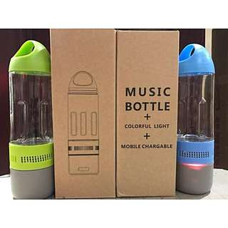 MUSIC BOTTLE: Water tumbler + Bluetooth Speaker + Powerbank Charger all in ONE bottle!