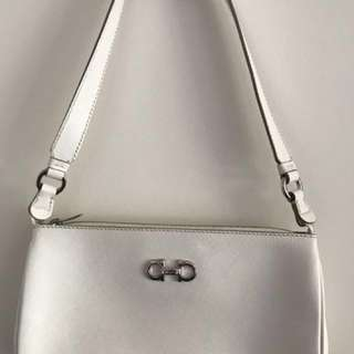 Salvatore Ferragamo White Calfskin 'Lisetta' Small Shoulder Bag