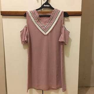 Boho Dusty Pink Dress Off Shoulder