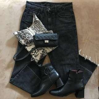 🎄高腰牛仔褲 👖黑灰色
