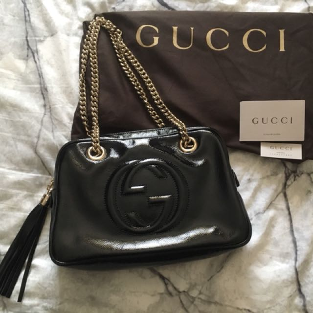 100% Genuine Gucci Soho Patent leather bag
