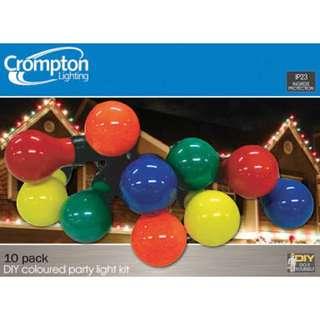 Multi coloured festoon lighting