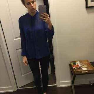 Aritzia royal blue blouse size small