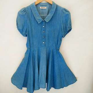 Browny denim mini dress