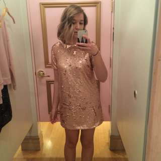 S-medium Forever 21 Sequin Dress, Dusty Pink