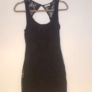 PULL&BEAR Black lace bodycon dress - Medium