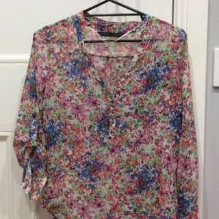 Zara Floral Top Size M