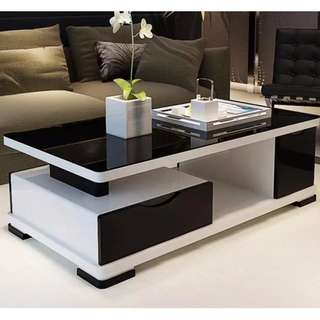 Black and White GLossy Center Table COffee Table Living Room Table