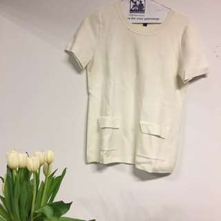 Banana Republic white top with pockets, thick material size small