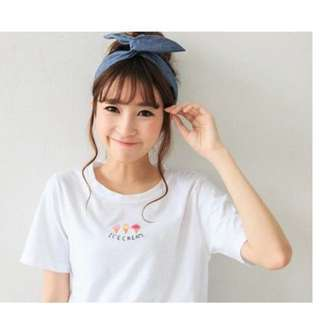 Miustar 正韓 冰淇淋繡圖上衣 T恤(白色)#我的女裝可超取