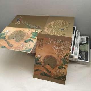 故宮博物院 孔雀開屏圖明信片 4pieces