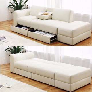 3--in-1 Couch White Sofa Bed with Drawer and Storage