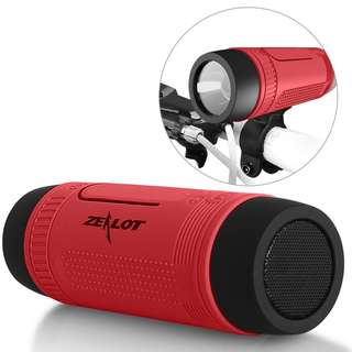 ZEALOT S1 Portable Waterproof Wireless Bluetooth Speaker with Toolless Bracket and Carabiner, Bike Accessory with Mobile Power Bank, Emergency Torchlight, TF Card Music Player