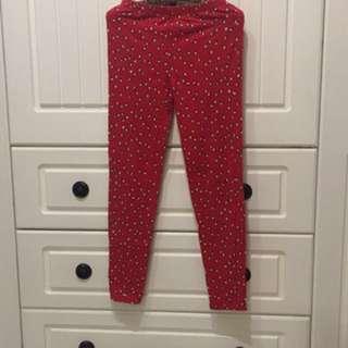 Gap 大女童 緊身褲 XXL 14-16 紅 企鵝