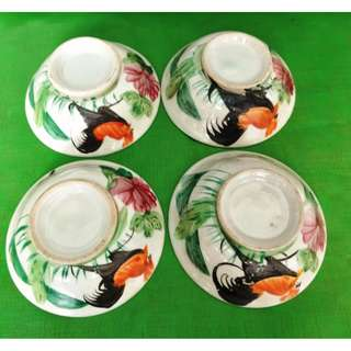 Old Rooster bowl hand painted 4 pieces, 旧手绘公鸡碗 4件