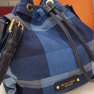 Blue Label (Crestbridge JP) Indigo Check Drawstring Bag