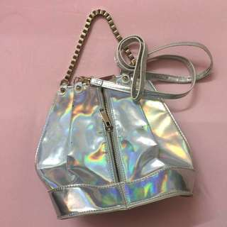 holographic / hologram sling , crossbody bag.