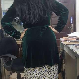 Baju zara dress hijau bludru