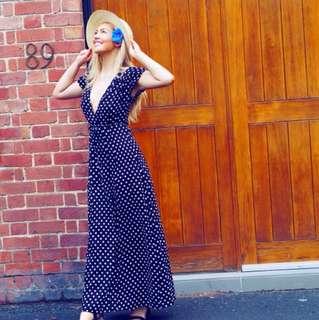 Polka dot wrap dress size 8
