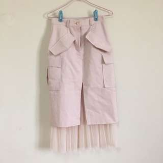 韓貨裙子內裡蕾絲-粉