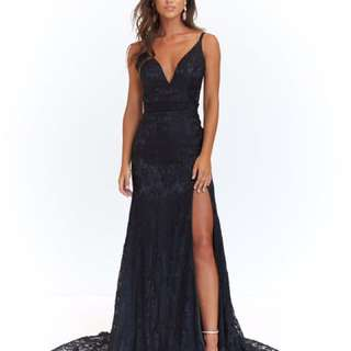Formal Dress: A&N LUXE AYLA LACE GOWN - BLACK