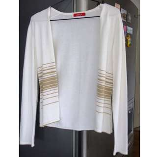 White / Cream Cardigan with Gold Stripes