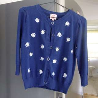 Navy Crop Cardigan Button-up with Embroidered Daisies