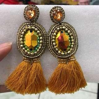 """Cathys Bags"" golden Myanmar tassel earrings"