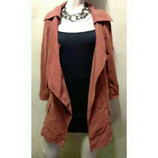 SALE preloved classy reddish brown suede coat with pockets
