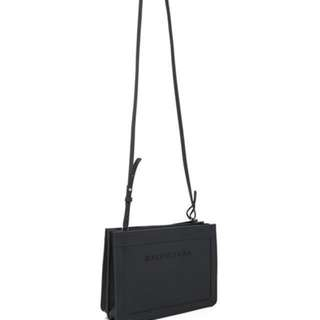 Balenciaga navy pochette leather crossbody