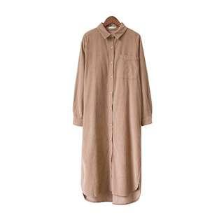 Muji燈芯絨長版襯衫洋裝