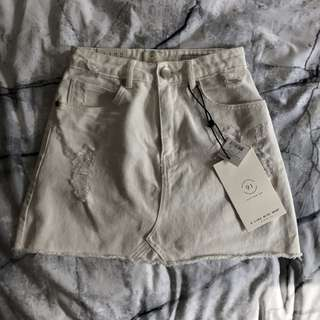 Cotton On White Denim A-Line Skirt