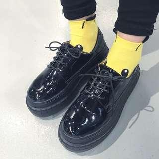 復古圓頭厚底鞋