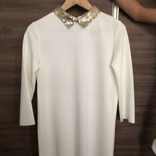 Zara, Shift Dress in White with gold sequin collar ( Trafaluc)