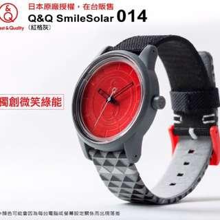 🚚 現貨出清🧡全新🧡Q&Q SmileSolar 014 太陽能錶-紅格灰/40mm🚀環保、無毒、潮流🚀