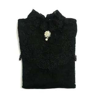 Korean Black Lace Blouse