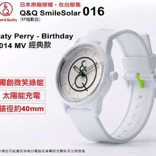 🚚 現貨出清🧡全新🧡Katy Perry MV 同款✨Q&Q SmileSolar 016 太陽能錶KP炫影白/40mm