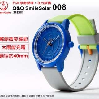 🚚 現貨出清🧡全新🧡Q&Q SmileSolar 008 太陽能錶-霧藍綠/40mm 🚀環保、無毒、潮流🚀
