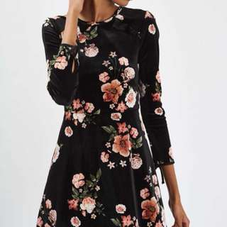 Topshop Oriental Suede Dress (Floral Velvet Flippy Dress)