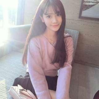 Korean style air bang long straight hair wig
