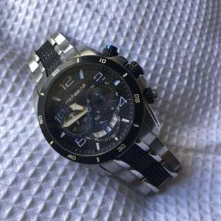 Men's Chronograph Watch in Black and Silver Stainless steel