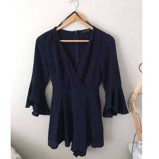 Navy Playsuit with Frill Sleeves Size 10 ONLY WORN ONCE