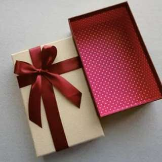 New Gift Box with Red polka dots inside