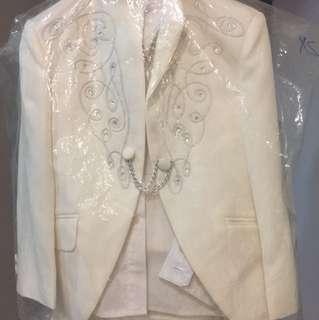 Boys Wedding Long Sleeves Smart Suit Full Set White